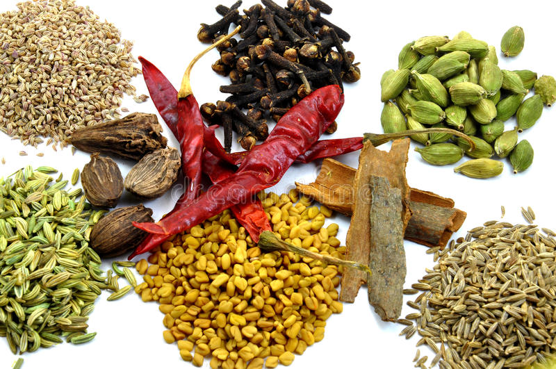 Variety of spices for kitchen stock images