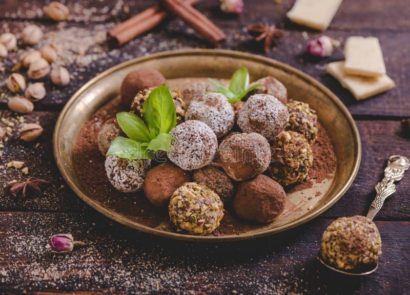 Variety of sweet homemade pralines stock photos