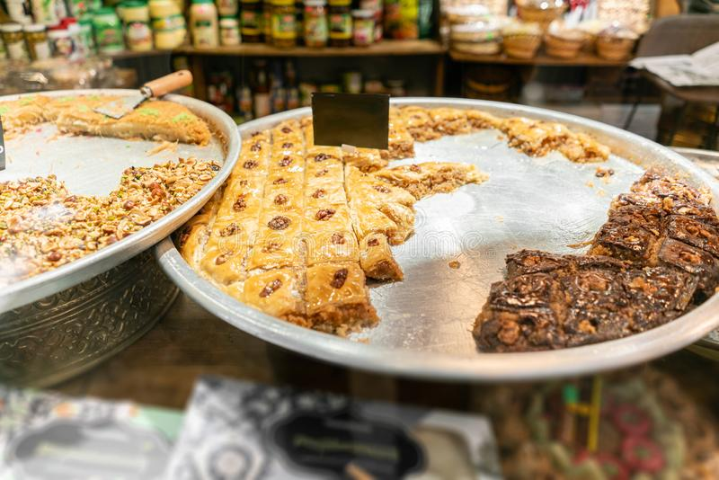 Variety of sweets Pastry. Traditional Eastern dessert Eastern sweets in a wide range, baklava, almond, cashew and royalty free stock images