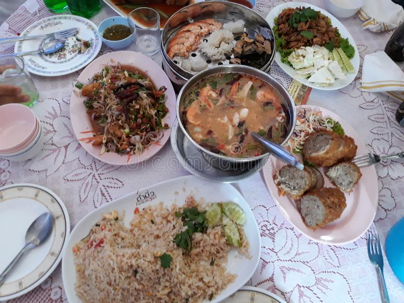 A variety of Thai food on the table royalty free stock photography