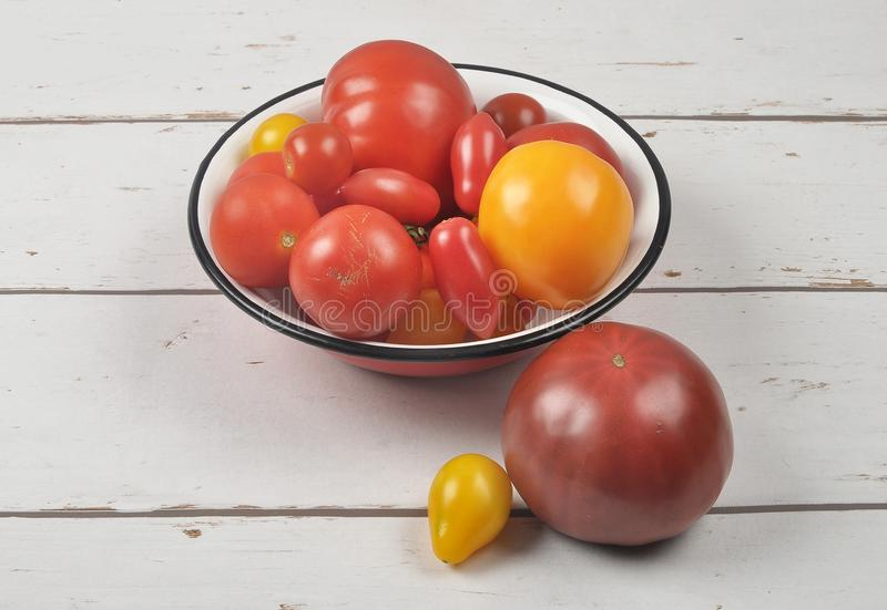 Variety of tomato cultivars in enamel bowl on weathered wood royalty free stock photography