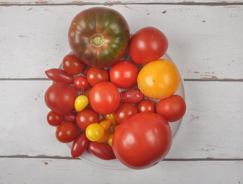 Variety of tomato cultivars on plate and wood royalty free stock photography