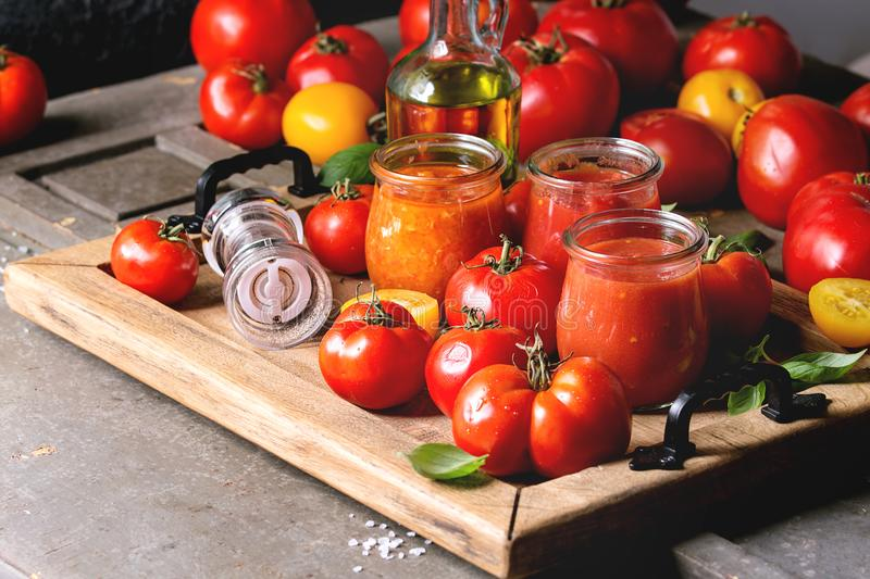 Variety of tomato sauces stock photography