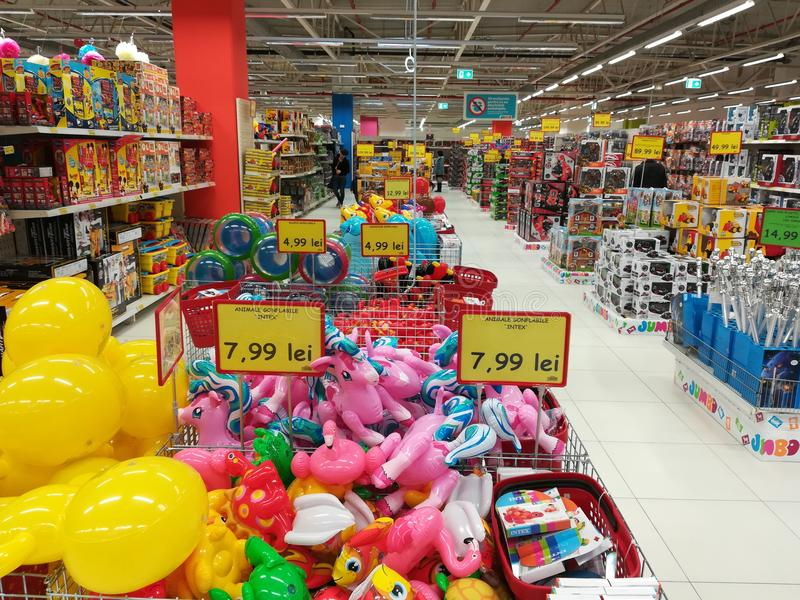 Variety of toys at Jumbo store royalty free stock images