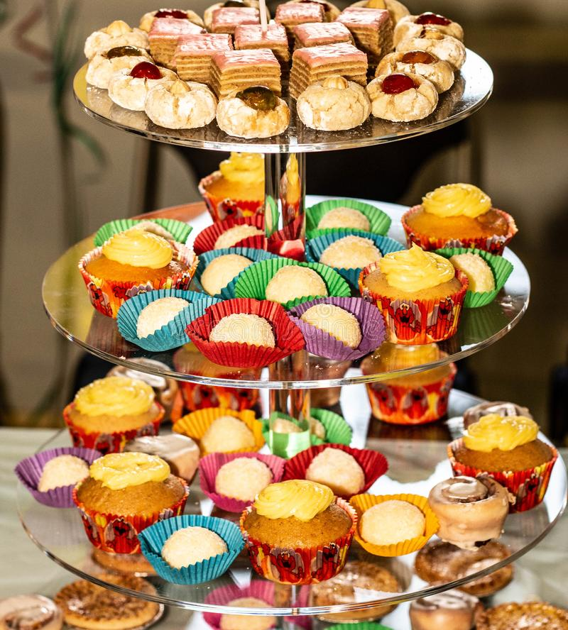 Cake Stand with Variety Of Treats stock photos
