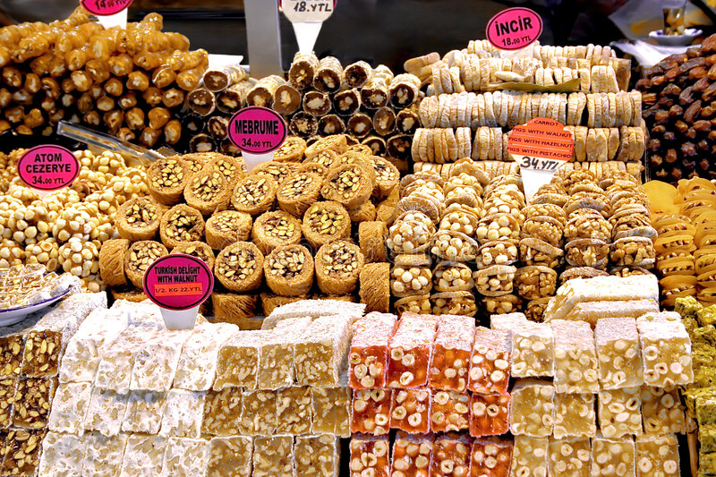Variety of Turkish sweet. Authentic Turkish sweets made from pulp and nuts stock images