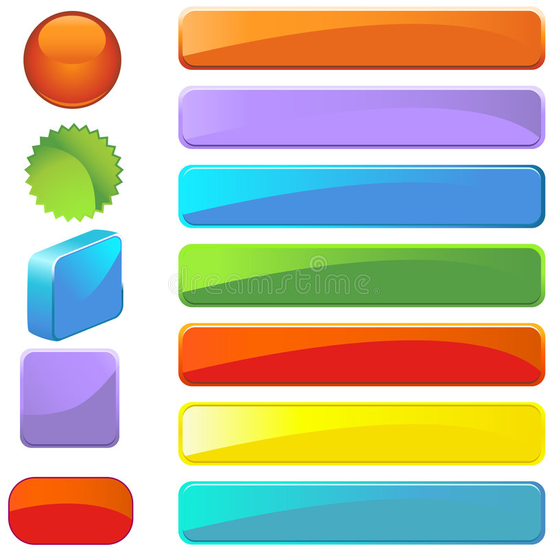 Variety of Web Buttons in Different Styles stock illustration