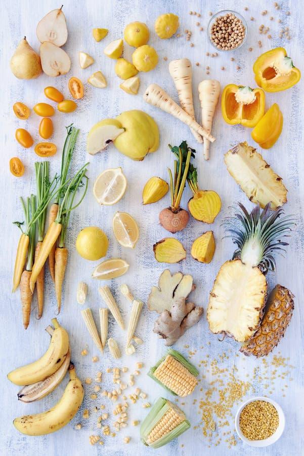 Variety of yellow toned fresh produce royalty free stock photo