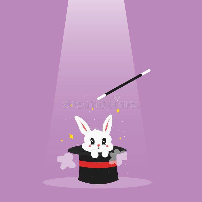 Varinha do ` s do mágico e vetor branco dos desenhos animados do coelho ilustração do vetor