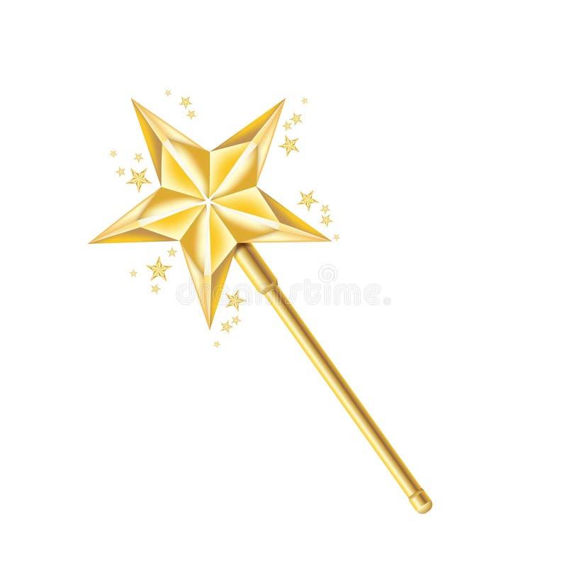 Varinha dourada mágica isolada no branco ilustração stock
