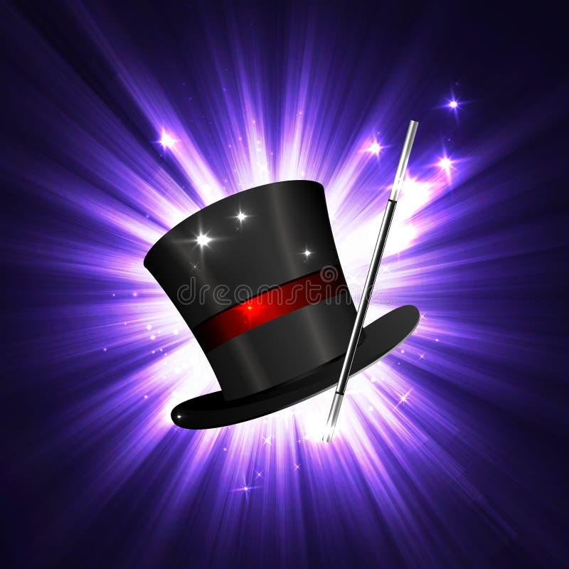 Varinha e chapéu mágico ilustração stock