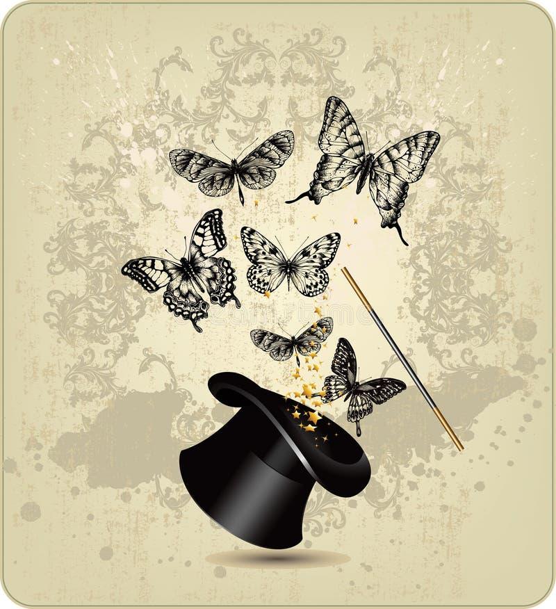 Varinha e chapéu mágicos com borboletas em um vintage b ilustração do vetor