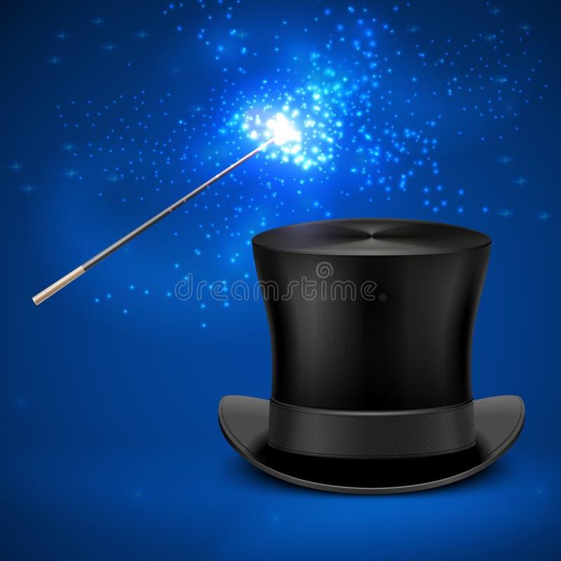 A varinha e o chapéu alto mágicos do vintage vector o fundo do Natal do entretenimento ilustração royalty free