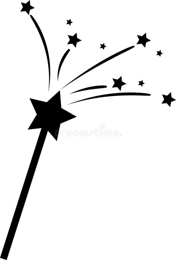Varinha mágica com estrelas ilustração royalty free