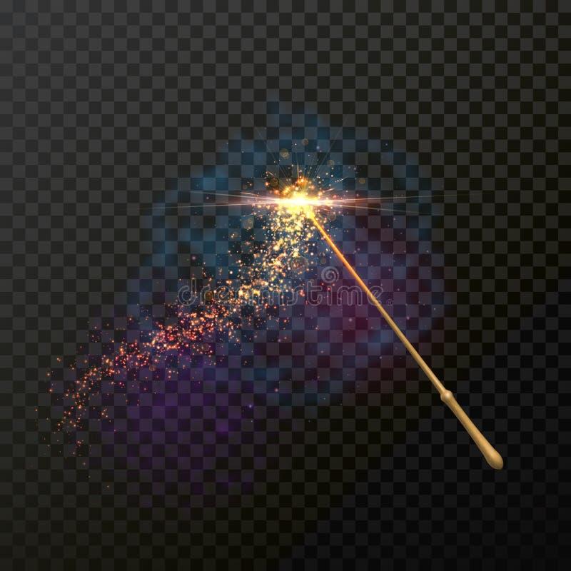 Varinha mágica com traço mágico da fuga da luz do brilho da faísca ilustração stock