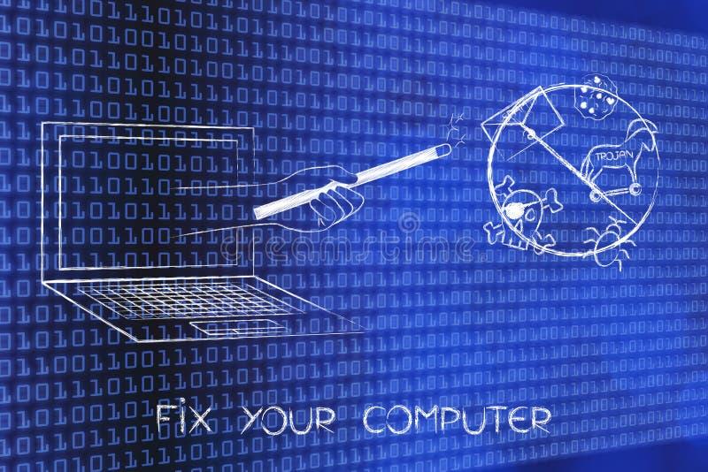 Varinha mágica fora do tela de computador com o ico cruzado das ameaças do cyber ilustração stock