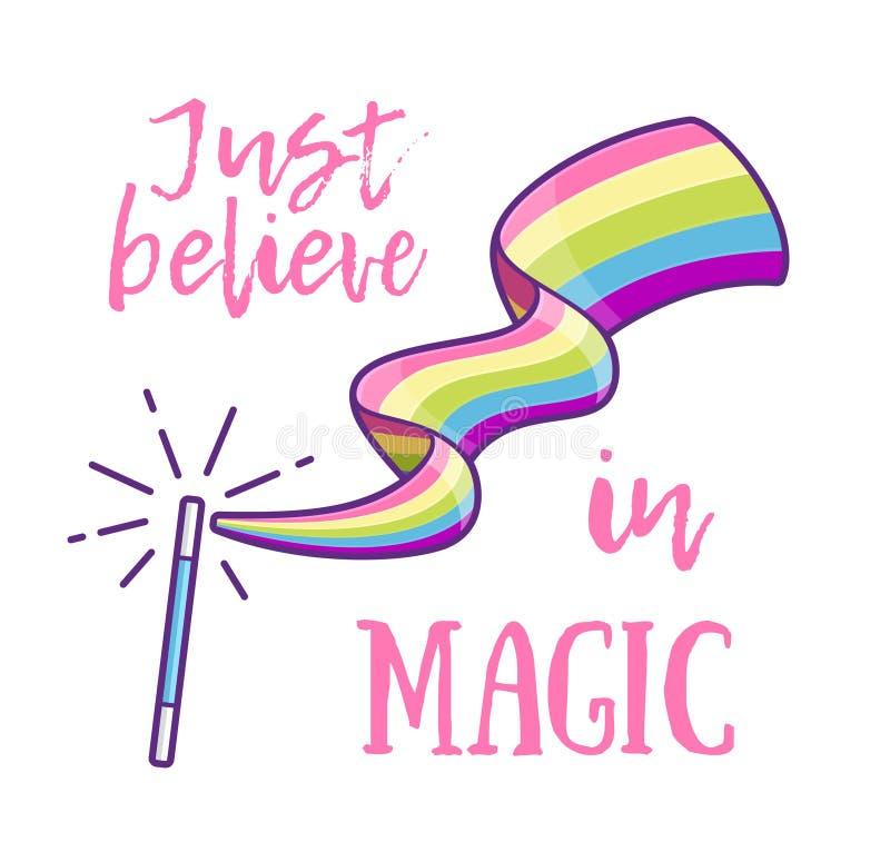 Varinha mágica que faz um arco-íris Ilustração do vetor ilustração stock