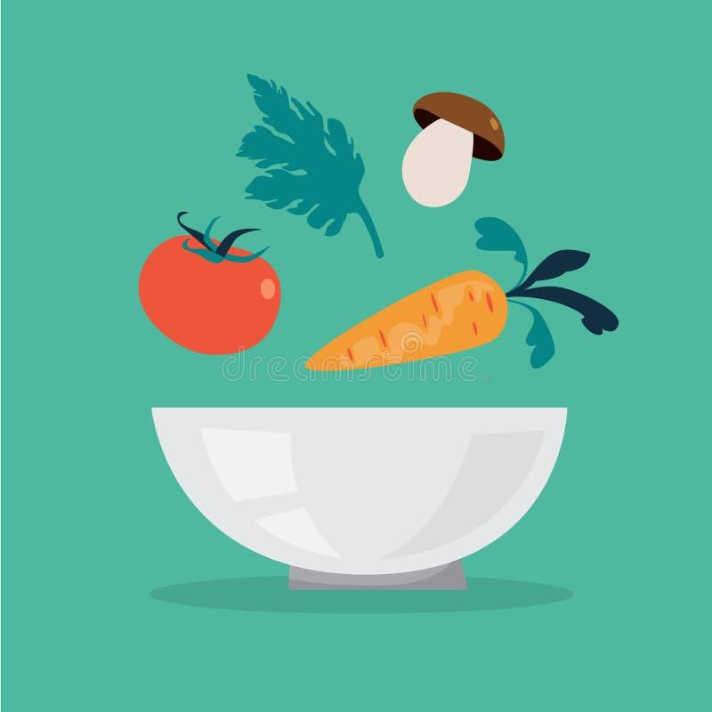 Vario alimento che cade nella ciotola Fabbricazione dell'insalata illustrazione vettoriale