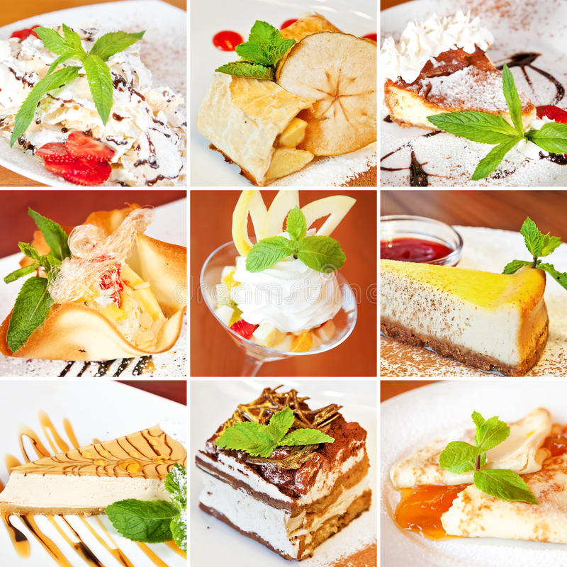 Vario collage dei dessert fotografia stock
