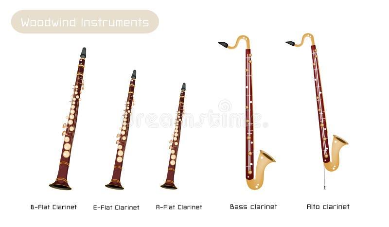 Vario genere di clarinetti isolati su Backgr bianco illustrazione vettoriale