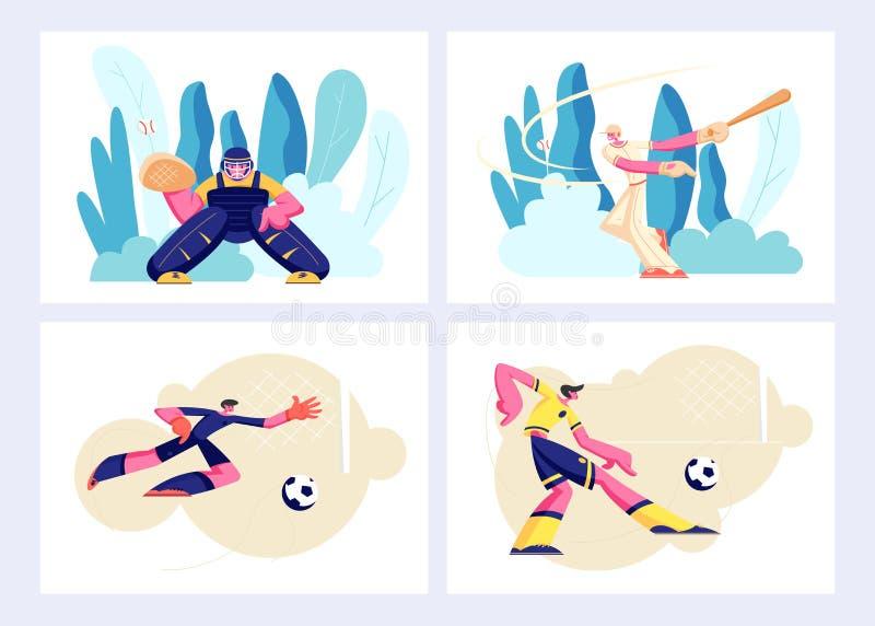 Vario genere di insieme, di giochi e di giocatori di sport nell'azione Ricevitore di baseball, pastella, uomo di attacco di calci illustrazione di stock