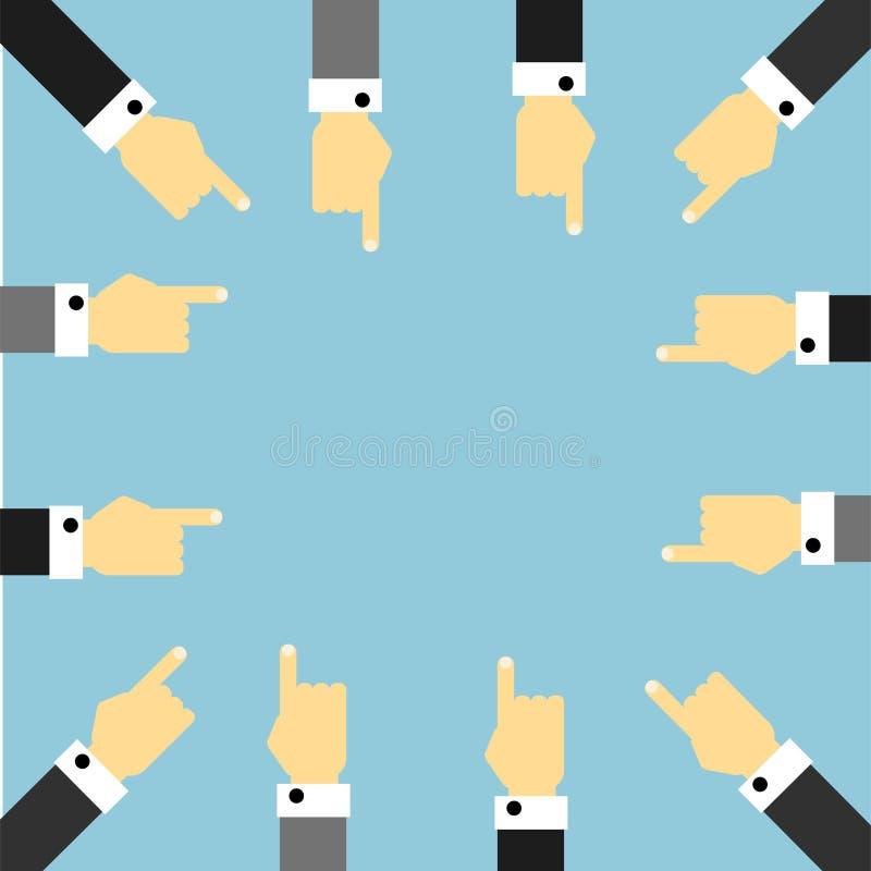 Vario hombre de negocios Hands Pointing en el centro del bastidor libre illustration