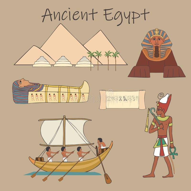 Vario insieme del fumetto delle caratteristiche di civilizzazione egiziana antica illustrazione vettoriale
