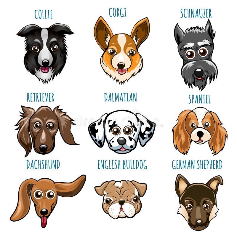 Vario insieme della testa di cane royalty illustrazione gratis