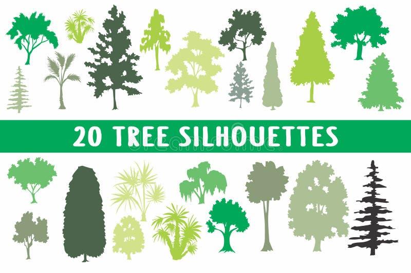 Vario insieme di progettazione di 20 siluette degli alberi illustrazione di stock