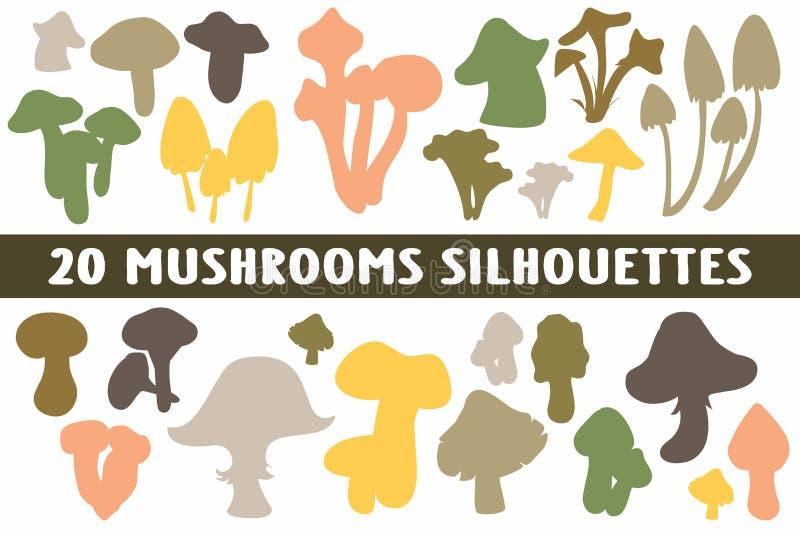 Vario insieme di progettazione di 20 siluette dei funghi royalty illustrazione gratis