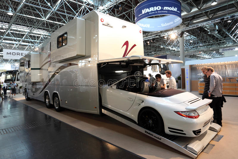 Vario mobil rv with built in garage editorial photo for Salon caravaning