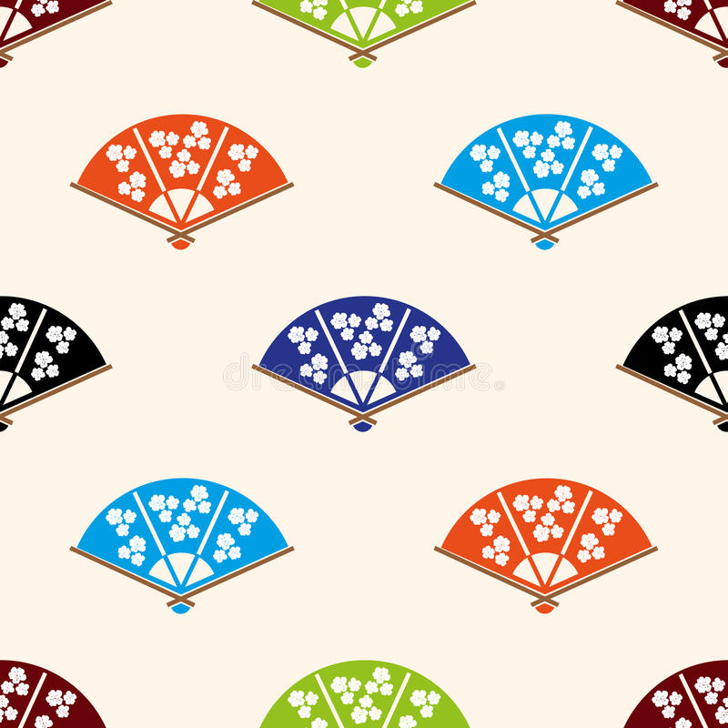 Vario modello senza cuciture dell'insieme di colori del ventaglio asiatico illustrazione vettoriale