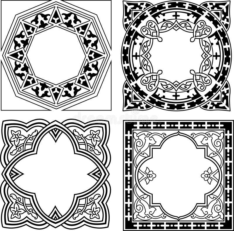 Vario ornamento in bianco e nero del quadrato illustrazione di stock