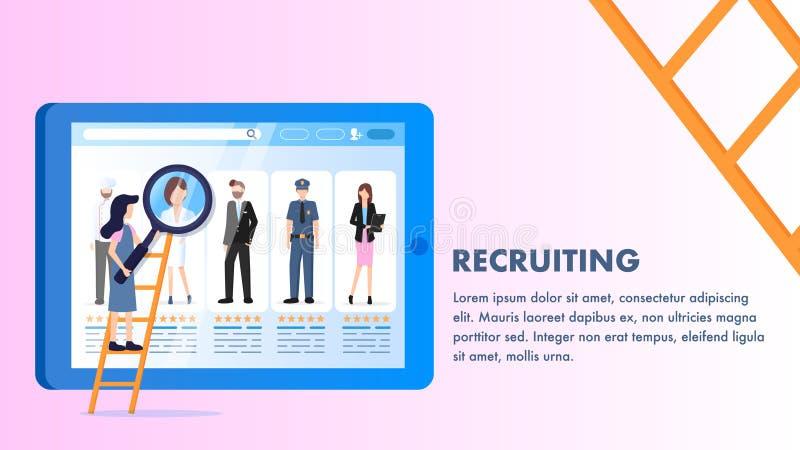 Vario schermo del computer portatile di profilo degli impiegati di occupazione illustrazione di stock