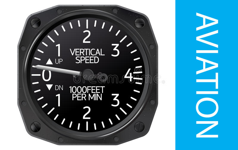 Variometer vector illustration. Variometer, an instrument for indicating vertical speed of the aircraft stock illustration