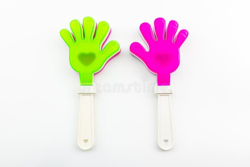 Variopinto del giocattolo di applauso della mano. fotografia stock libera da diritti