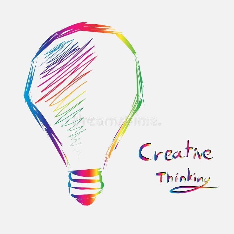 Variopinto del segno della lampadina di pensiero creativo linea vettore di arte illustrazione di stock