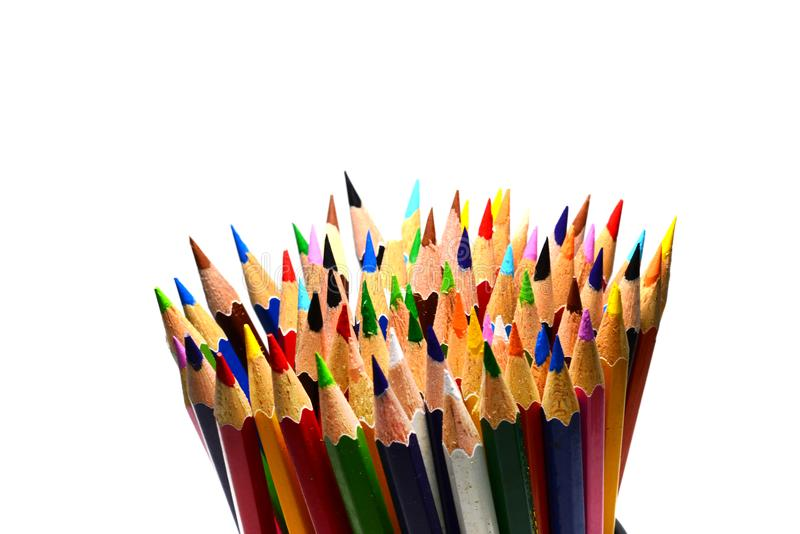 variopinto dell'affilatura disegnano a matita su fondo bianco isolato fotografia stock