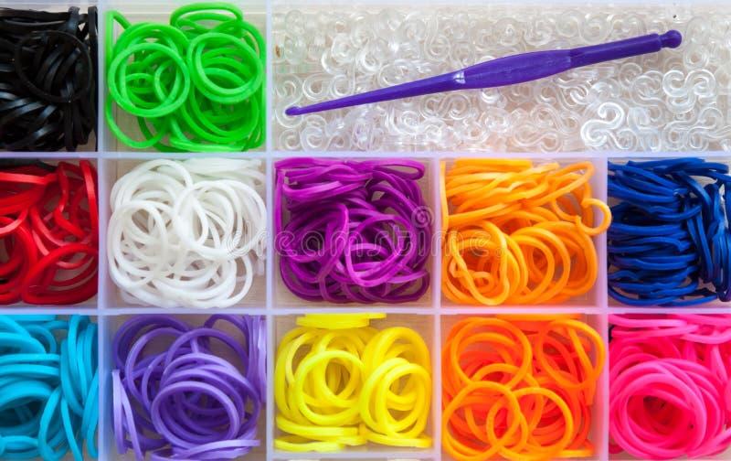 Variopinto delle bande elastiche del telaio dell'arcobaleno immagine stock