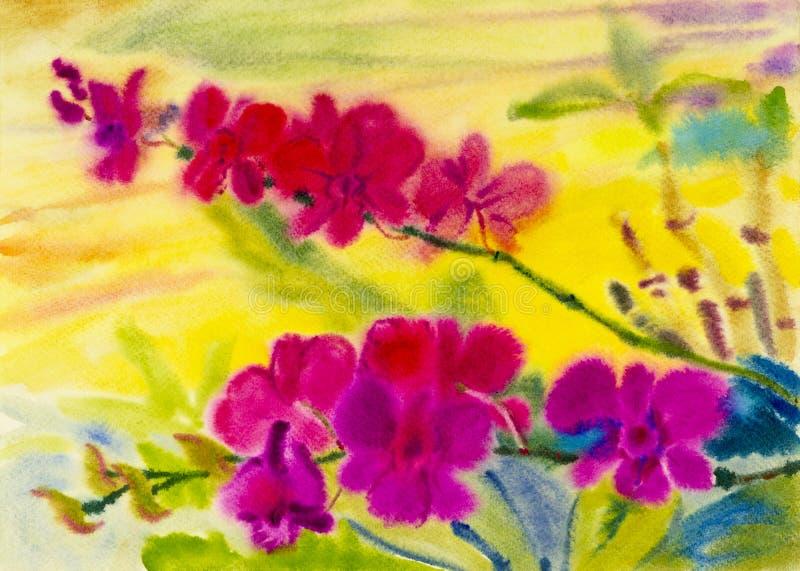 Variopinto originale del paesaggio dell'acquerello di arte della pittura del fiore dell'orchidea illustrazione di stock
