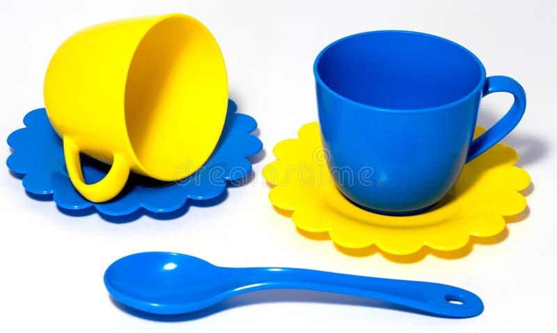 Variopinto tè-imposti il giocattolo fotografia stock