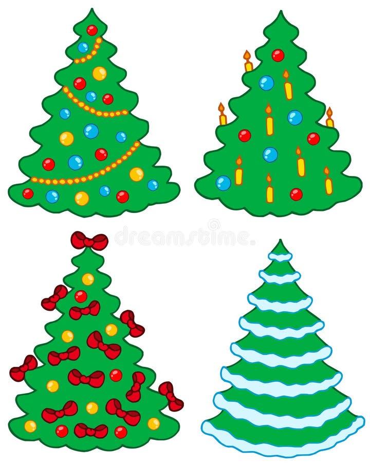 Varios árboles de navidad stock de ilustración