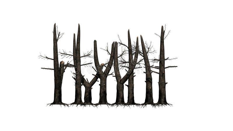 Varios árboles quemados en el fondo blanco libre illustration