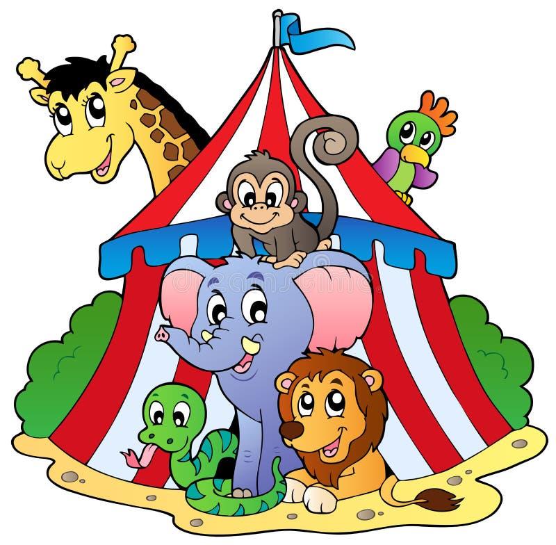 Varios animales en tienda de circo ilustración del vector