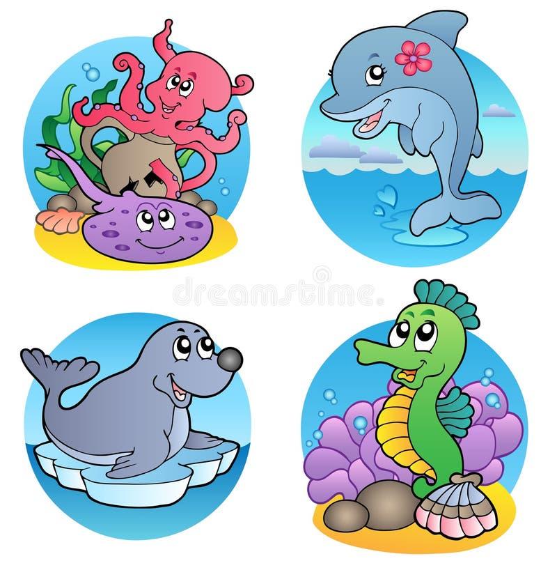 Varios animales y pescados 1 del agua stock de ilustración