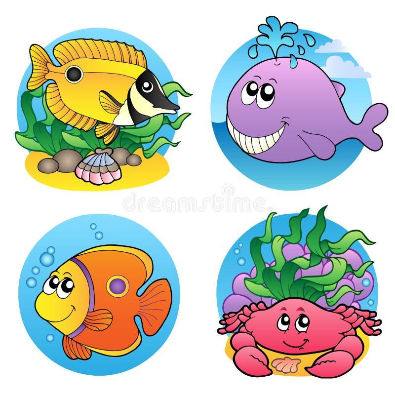 Varios animales y pescados 2 del agua stock de ilustración