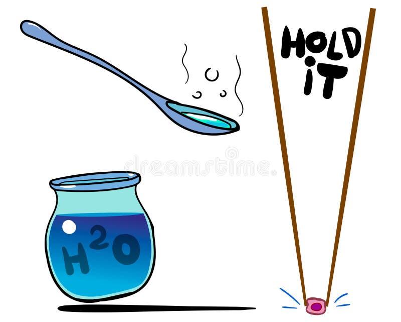 Varios art?culos para la cocina Entre ellos es una poder de agua, de una cuchara y de palillos que sostienen un pedazo de comida ilustración del vector