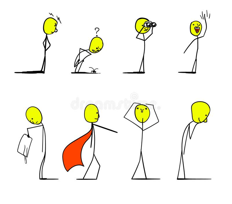 Varios caracteres se colocan en diversas actitudes Tienen cuerpos finos y cabezas amarillas foto de archivo libre de regalías