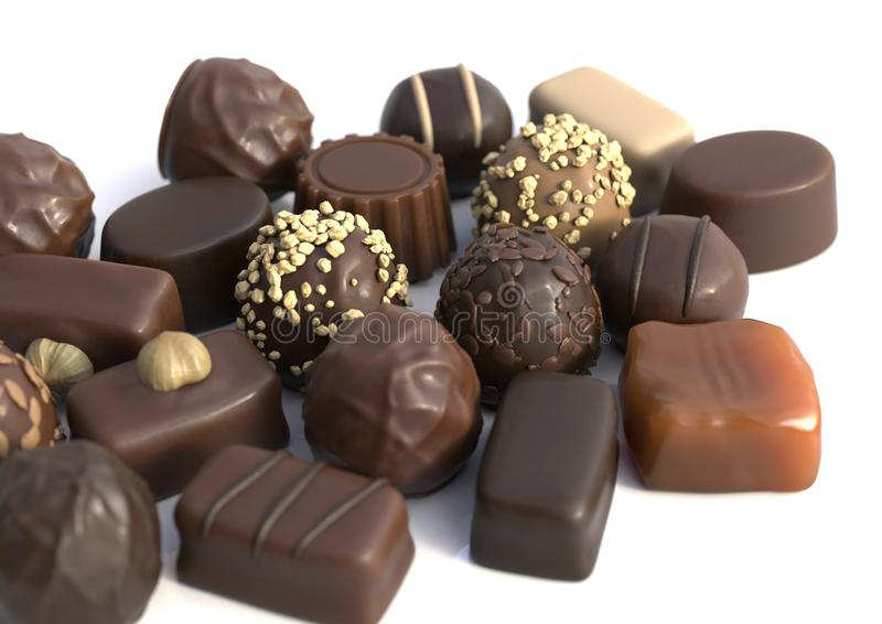 Varios chocolates foto de archivo