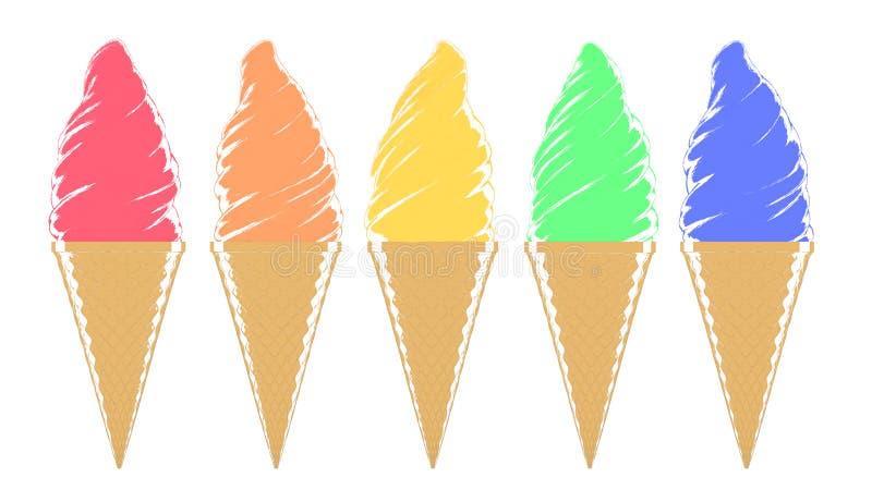 Varios Colorearon Brillantemente Conos De Helado Ilustrados Stock de ...